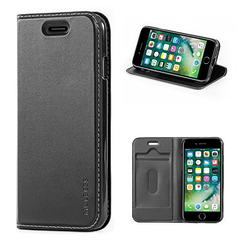 Mulbess iPhone 8 Hülle Klappbar, Handyhülle für iPhone 8 and iPhone 7 Tasche Leder Flipcase mit Magnetverschluss, Schwarz
