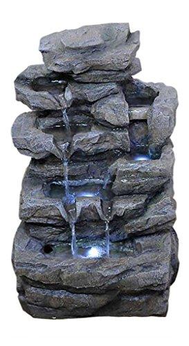 Zimmerbrunnen mit Wasserfall und LED-Beleuchtung Höhe 47 cm