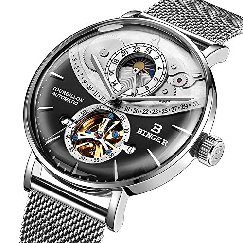 Schweiz Automatic Watch Men Saphir Japan Bewegung Skeleton Mechanical Men Uhren Voller Stahlsaphir wasserdicht 10002,B