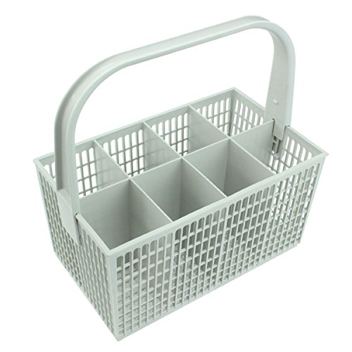 SPARES2GO Cutlery Basket Cage for Zanussi Dishwasher (White, 237mm x 137mm x 122mm)