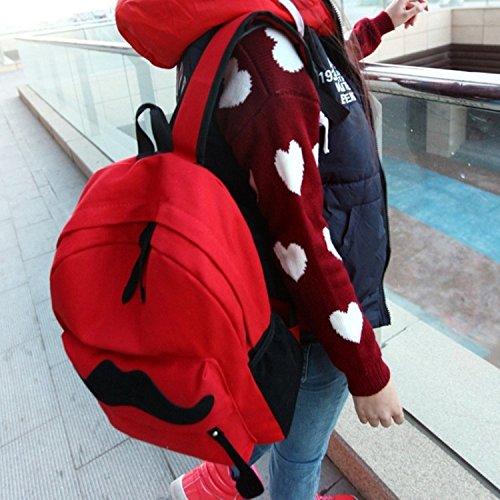 TheWin - Zaino pratico per passeggiate all'esterno Hot Pink Red mustache