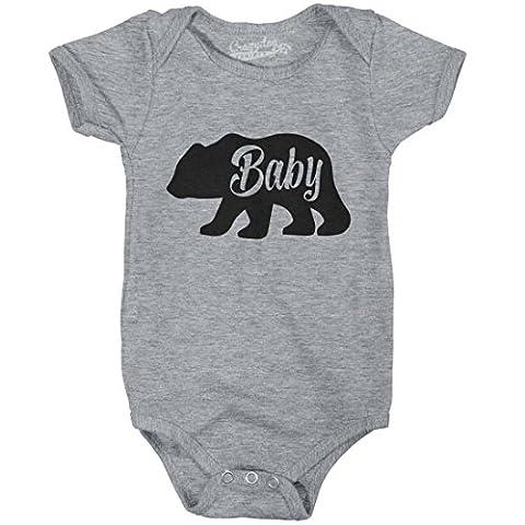 Crazy Dog TShirts - Baby Bear Funny Infant Shirts Cute Newborn Creeper for Family Bodysuit (Grey) -12-18m - baby-Enfant
