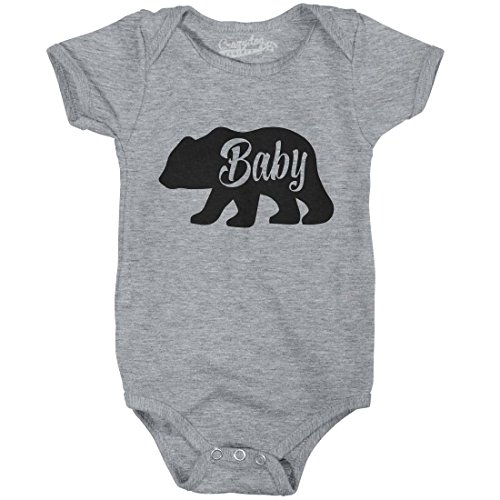 Crazy Dog Tshirts Baby Bear Funny Infant Shirts Cute Newborn Creeper For Family Bodysuit (Grey) -3-6m - Baby-Jungen - 3-6 Months (Infant Creeper Baby)