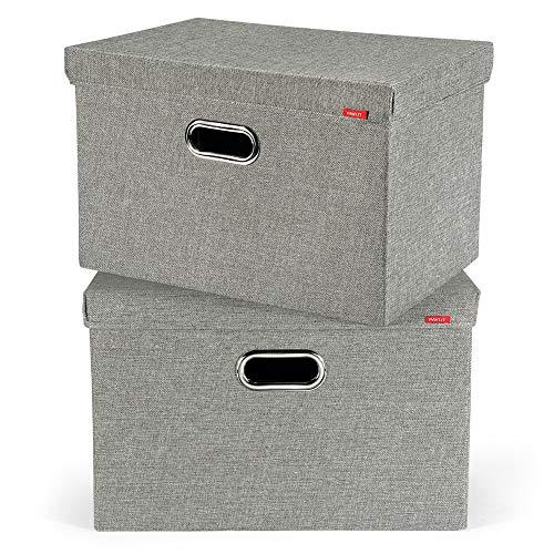 PAVLIT Boîte de Rangement en Tissu avec Couvercle, Caisses de Rangement Gris, Jouets sous Le lit, Chambre à Coucher, étagères 45x30x30 cm [2 pièces]