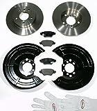 Autoparts-Online Set 60010387 Bremsscheiben/Bremsen + Bremsbeläge + Spritzbleche für Hinten/für die Hinterachse