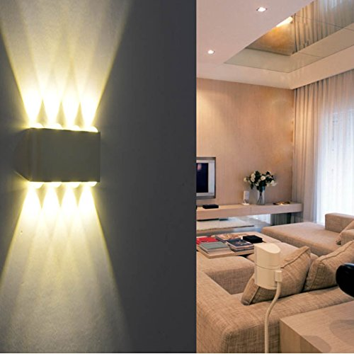 wandleuchte led innen phoewon 8w modern led licht wandlampe aluminium leuchten wandlicht oben. Black Bedroom Furniture Sets. Home Design Ideas