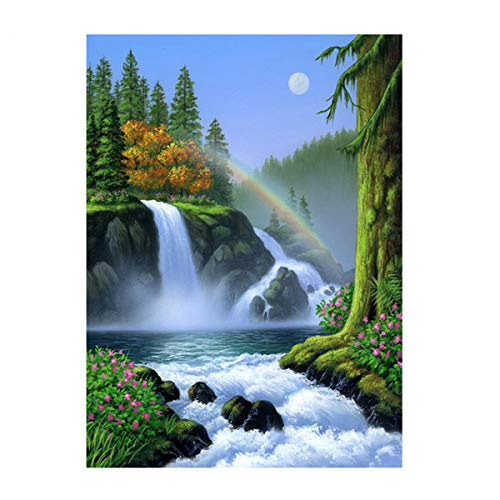 Sunnay Diamond Painting Set, 5D Diamant Painting Set Full Stickerei Groß Bilder DIY Diamonds Malerei, 30x40cm,Wasserfall Wasser Und Bäume
