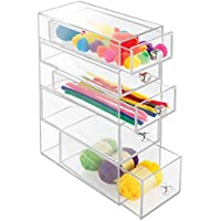 mDesign Art Supplies, Crafts and Sewing Organizer - 5 Drawers, Clear by MetroDecor