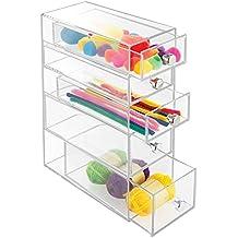 mDesign boite de stockage en plastique – support à lunettes pratique à 5 tiroirs – accessoire de rangement pour stylos ou accessoire de couture - transparent