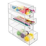 mDesign Schubladenbox aus Kunststoff - praktische Minikommode mit fünf Schubladen - Schreibtisch Organizer für Stifte oder Nähzubehör - durchsichtig