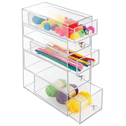 mDesign Schubladenbox aus Kunststoff - praktische Minikommode mit fünf Schubladen - Schreibtisch...