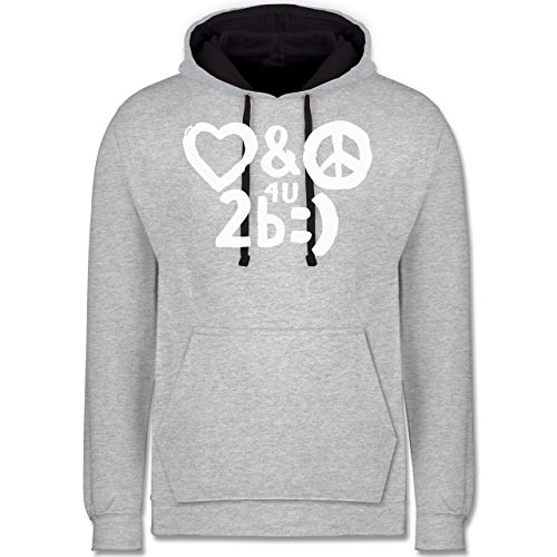 Symbole - Love & Peace for you to be happy - Kontrast Hoodie Grau meliert/Dunkelblau