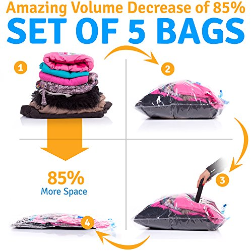 "5 Vacuum Storage Bags - Space Saver Plastic Vacuum Sacks: 2 Jumbo (31x39"") 2 Medium (23x31"") 1 Small (19x23"")"