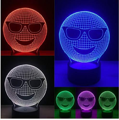 Nachtlicht Lustige 3D kühle Lachen-Sonnenbrille-Ausdruck-Nacht beleuchtet Illusions-Kunst-Stimmungs-LED-Tabellen-Schreibtisch-Lampen-bunte Steigung