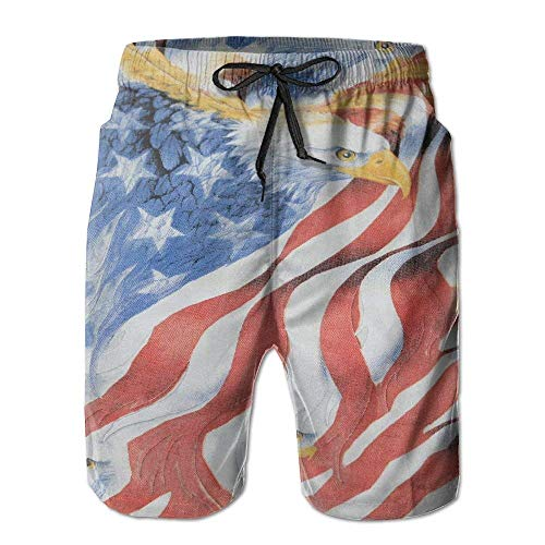 USA Flag and Eagle Men's/Boys Casual Shorts Swim Trunks Swimwear Elastic Waist Beach Pants with Pockets Small Glory Boys Jeans
