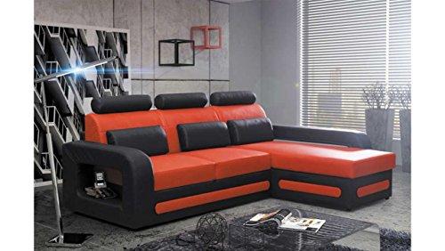 JUSTyou Bergamo Mini Canapé d'angle Sofa canapé lit Simili Cuir (HxLxl): 98x270x180 cm Noir Orange Angle Droit