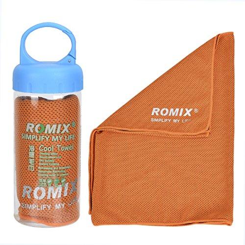 ROMIX Mikrofaser-Handtuch, Kühlhandtuch Reisehandtuch Fitness- und Sporthandtuch eiskalt, saugfähig, schnelltrocknend, streichelweich 30 x 90 cm (Orange)
