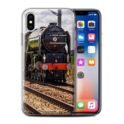 Stuff4 Gel TPU Hülle / Case für Apple iPhone X/10 / Scotsman/Bahnsteig Muster / Dampflokomotive Kollektion Tornado
