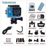 TEBERBOOM S2 Cámara de Acción Deportiva Impermeable Cámara Deportiva Wifi 4k Ultra HD 170 Grado