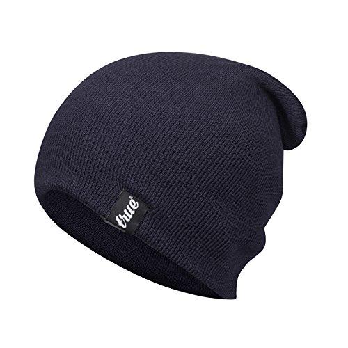 TRUE VISION Navy Blau Herren Strickmütze - Tragen Sie sie im relaxten Slouch oder üblicheren Turn Cuff Beanie-Stil - Weiche & Bequeme Einheitsgröße – Winter Warme Gestrickte Acrylfaser - Unisex