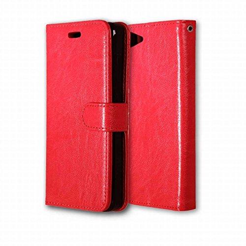 Custodia Lenovo ZUK Z2 / Lenovo Z2 Plus Cover Case, Ougger Portafoglio PU Pelle Magnetico Stand Morbido Silicone Flip Bumper Protettivo Gomma Shell Borsa Custodie con Slot per Schede Colore Rosa Rosso