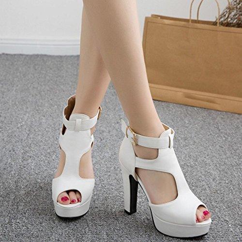 TAOFFEN Femmes Peep Toe Sandales Mode Bloc Plateforme Talons Hauts Sangle De Cheville Chaussures Blanc