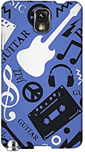 Timpax Light Weight Hard Back Case Cover Printed Design : Music in purple.Exclusively Design For : Samsung Galaxy Note 3 ( N9000 )