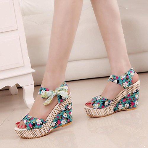 Amlaiworld 11cm Tacco alto Sandali donna scarpe Summer Shoes per Ragazze verde