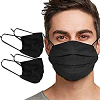 Tanness 2 PACK Reusable 100% Cotton Face Cover Mask Washable Face Mouth Cover - BLACK