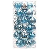 Sea Team 60mm/2.36' Palla Sfera Trasparente infrangibile in plastica per Albero di Natale, riempita con Decorazioni Natalizi Raffinati Set 30 Pezzi