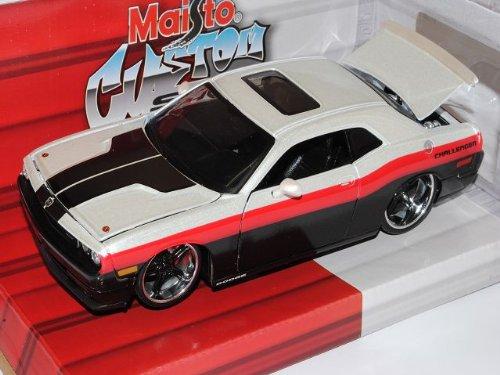 Maisto Dodge Challenger LC Ab 2008 Tuning Weiss Schwarz 1/24 Modell Auto