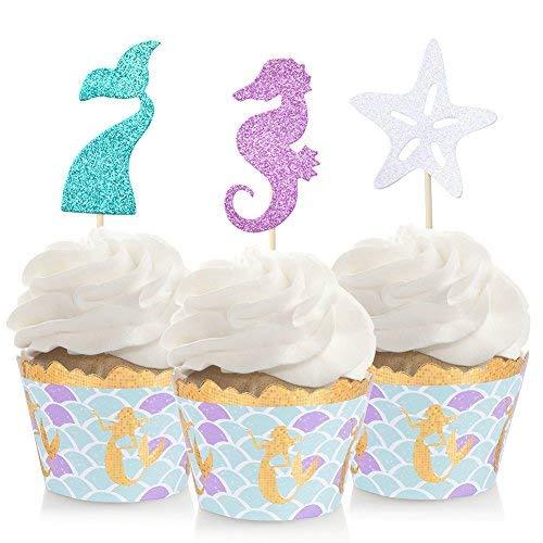 Mermaid Cupcake Topper & Wrappers Meerjungfrau Party Favor -