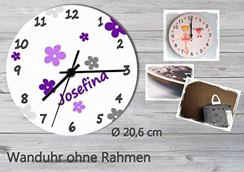 Kinder Wanduhr Kinderuhr Kinderzimmer Uhr mit Namen personalisiert laufruhig leise Blumen grau lila