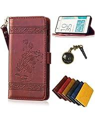 PU pour Sony Xperia XA Bookstyle Étui fleurs Fleur Housse en Cuir Case à rabat pour Sony Xperia XA Coque de protection Portefeuille TPU Case (+Bouchons de poussière) (8)