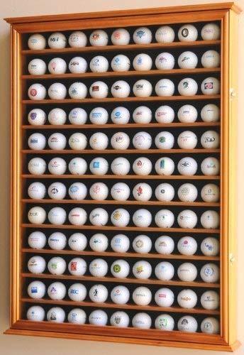 108Golf Ball Display Fall Schrank Wall Rack Halter w/UV-Schutz-Eiche