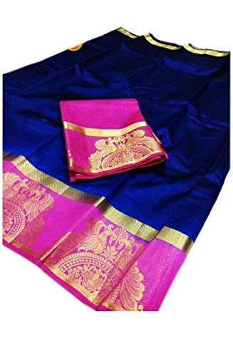Navanya Couture Traditional Tussar Silk Party Wear Saree (LOVING PEACOCK NAVY PINK_FreeSize)