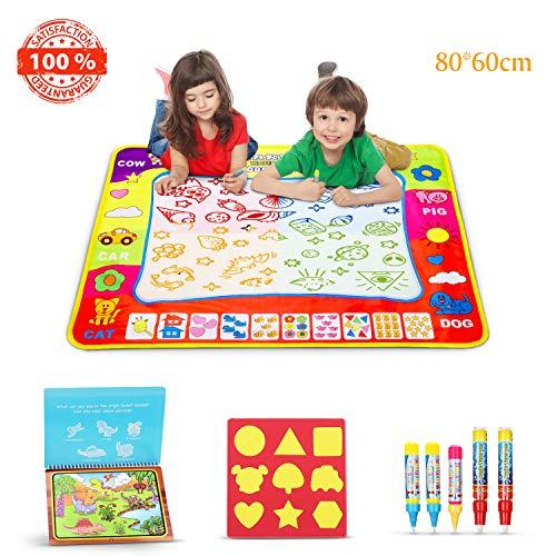 Sunyjoy Wasser Magic Doodle Matte, große Wasser Zeichnung Matte, pädagogische Spielzeuge mit Dinosaurier Buch 5 Wasserstifte 9 Formen für Kinder, Jungen Mädchen ab 3 Jahre Altes ( 80 x 60 cm)