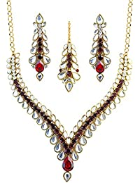 Touchstone Golden & Red Kundan Necklace Set With Maangtika For Women