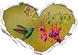 Grüner Kolibri trinkt vom Blütennektar Herzform im 3D-Look , Wand- oder Türaufkleber Format: 62x43,5cm, Wandsticker, Wandtattoo, Wanddekoration