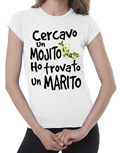 T-shirt donna divertente CERCAVO UN MOJITO ED HO TROVATO UN MARITO - maglietta umoristica 100% cotone JHK_Fermento Italia Bianco