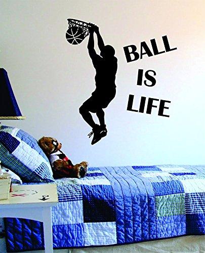 (Romote Kugel ist Leben Version 2 Basketball Court Wandtattoo Vinyl-Kunst-Aufkleber Sport-Jungen-Mädchen Teen Baby-NBA)
