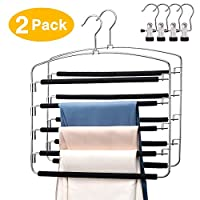 YGZN Pants Hangers 2 Pack Space Saving Non Slip Trousers Hangers Stainless Steel Clothes Hangers Closet Organizer for Pants Jeans Trousers Scarf with 4 Portable clothespins