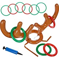 Faburo 12 Pcs Christmas Toss Game Set: Inflatable Reindeer Antler Hat, 4 Inflatable Rings,6 Plastic Rings and Pumps