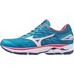 Mizuno Wave Rider 20 (w), Zapatillas de Running para Mujer, Azul (Atomic Blue/White/Diva Pink), 39 EU