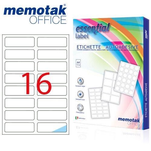 Packung mit 100Blatt A4Etiketten Aufkleber memotak Format in Millimeter 99x 341600Etiketten für Behälter - 1600 Inkjet