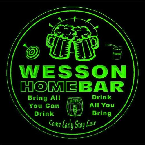4x-ccq48073-g-wesson-family-name-home-bar-pub-beer-club-gift-3d-coasters