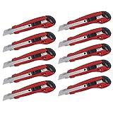 10 KREATOR Cuttermesser Teppichmesser Universalmesser 18mm Abbrechklinge mit Automatik Sperre - KRT000204