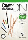 Clairefontaine 975029C Zeichenblock Cray'On (160 g, ideal für Trockentechnik, 30 Blatt, DIN A2, 42 x 59,4 cm, kopfseitig geleimt) extra weiß