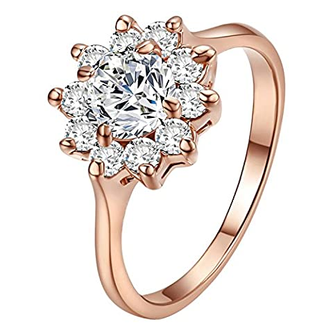 Yoursfs 18ct Rose Gold Plated Snowflake Cubic Zirconia Rings for Women Fashion Jewellery Crystal Cluster Engagement Ring