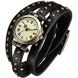 Fashion Retro Quarzuhr Armreif Leder Armbanduhr Damenuhr Uhr Schwarz